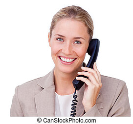 Close-up of a positive blond businesswoman on phone against...