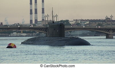Military submarine Neva Petersburg Shot in 4K ultra-high...