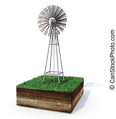 Windmill on cutout of land - Windmill on land cutout showing...