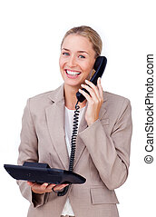 Self-assured businesswoman on phone isolated on a white...