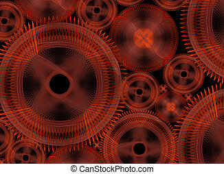 Technology - Considerable quantity of gears on a black...