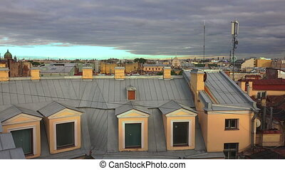 Petersburg. View from the roof. The Centre Of The City. 4K....