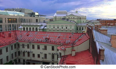Petersburg. View from the roof. Mariinsky theatre. 4K. -...