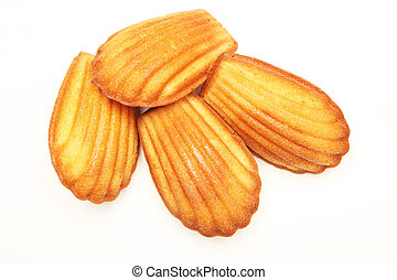 Madeleine cookie on white background