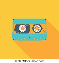 Audiocassette single icon. Vector illustration.