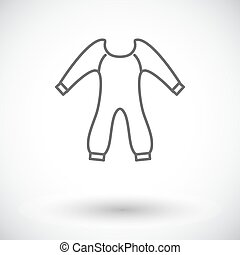 Baby clothes icon Thin line flat vector related icon for web...