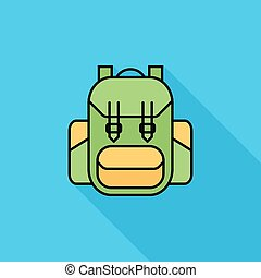 Rucksack icon. Flat vector related icon with long shadow for...