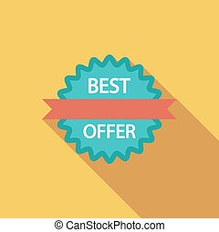 Best Offer icon. Flat vector related icon with long shadow...