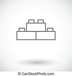 Building block icon Thin line flat vector related icon for...