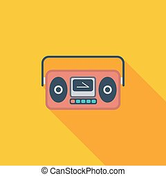 Boombox - Boom box icon. Flat vector related icon with long...