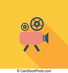 Videocamera icon Flat vector related icon with long shadow...