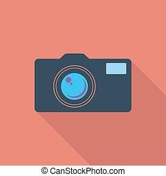 Icon vintage camera. - Vintage camera icon. Flat vector...