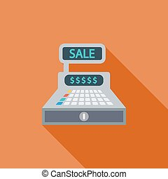 Cash register icon Flat vector related icon with long shadow...