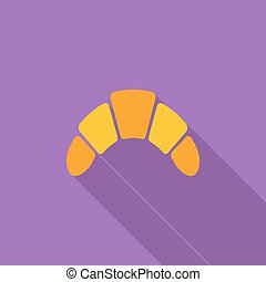 Croissant icon Flat vector related icon with long shadow for...