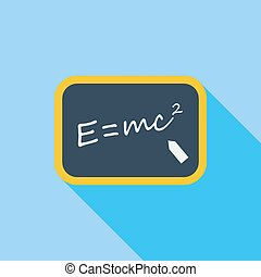 E = mc2. - E = mc2 icon. Flat vector related icon with long...