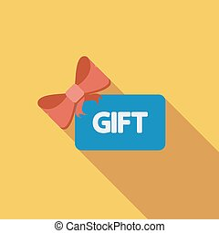Gift card icon. Flat vector related icon with long shadow...
