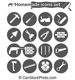 Homemade construction and renovation icons set, 16 icons, 2d...