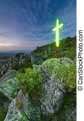 Lighting Cross - Lighting cross in the mountains. Portugal,...