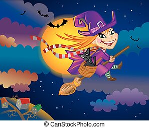The flying witch - Halloween greeting card with witch