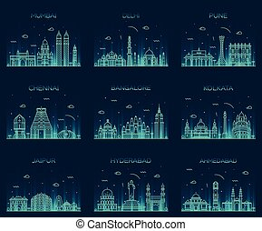 Set Indian skylines Mumbai Delhi Jaipur Kolkata - Set of...