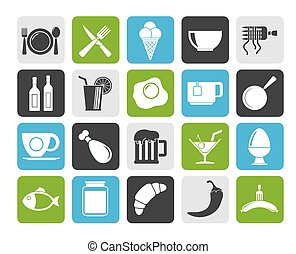 Food, drink and restaurant icons - Silhouette Food, drink...