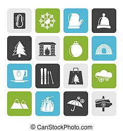 Winter, Sport and relax icons - Silhouette Winter, Sport and...