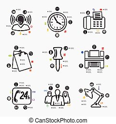 office infographic - office line infographic illustration...