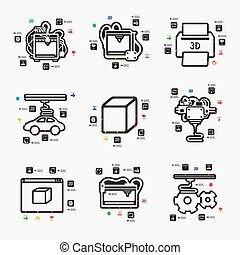 three d printer infographic - three d printer line...