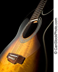 Acoustic guitar - acoustic guitar over black background ,...