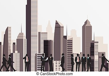 Silhouettes of business people with skyscraper building on backdrop.