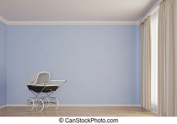Empty kids room with stroller blue wall