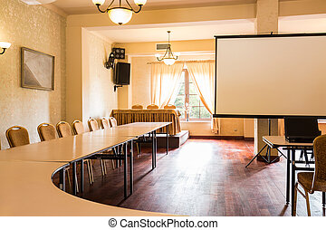 Big screen in board room - Picture of big screen in board...