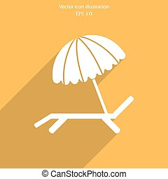 Vector beach umbrella and lounger icon - Vector beach...