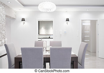 Elegant interior in pastel colors - Elegant dining room...