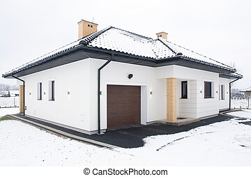 Single-family home at winter - External view of...