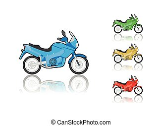 Motorcycle - Set of sporty motorcycle, illustration