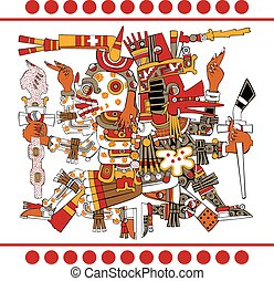 Ancient Aztec Gods - Vector of Aztec gods Quetzalcoatl and...