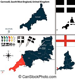 Cornwall, South West England, UK - Vector map of Cornwall in...
