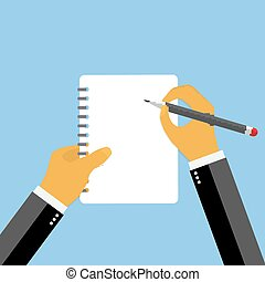 Businessman hand filling checklist illustration.