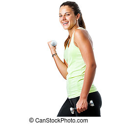 Happy teen girl doing fitness workout.