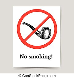 Sketch no smoking sign in vintage style, vector poster