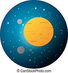 jupiter - Vector illustration of Planet Jupiter on night...