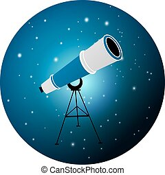 telescope - Vector illustration of telescope on night,...