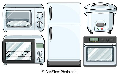 Electronic equipment used in kitchen illustration