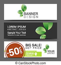 set of banners Sale typography background. Vector