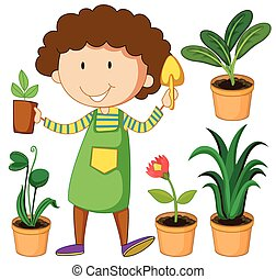 Gardener with potted plants