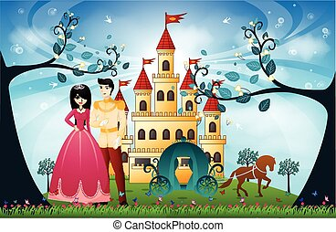 Beautiful Princess and Castle - colourfull