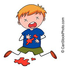 Little boy with blood stain on shirt