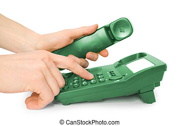 office telephone with hands - communication. office green...
