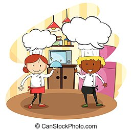 Male and female chef cooking